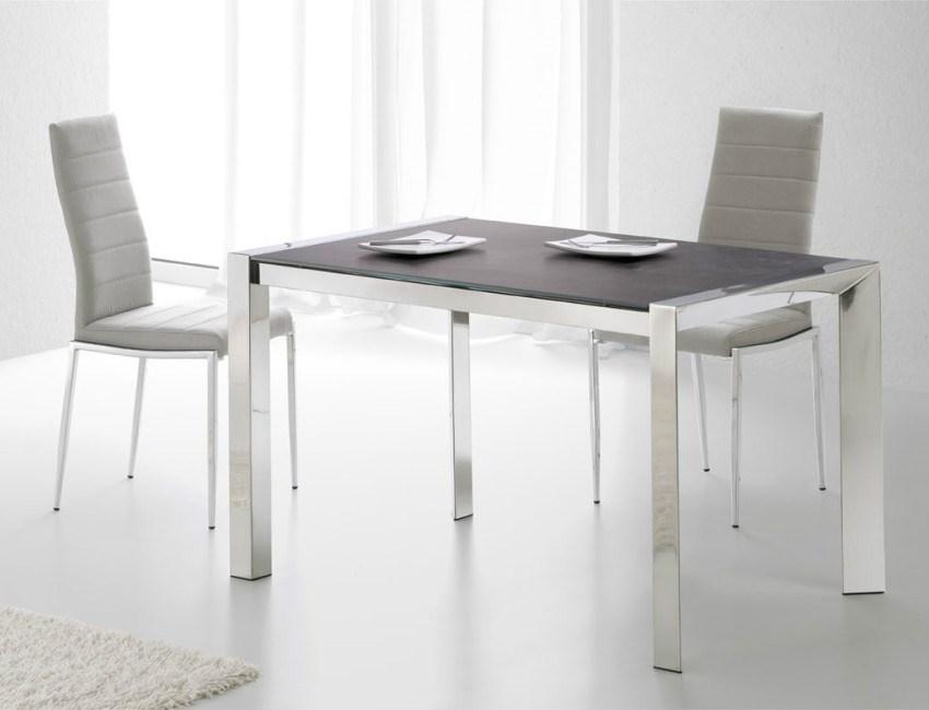 Mesa comedor extensible tapa cristal o porcel nico y patas en acero inoxidable - Mesa comedor porcelanico ...